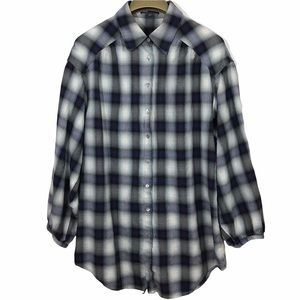 Vince Plaid Roll Tab Sleeve Button Front Oversized Shirt